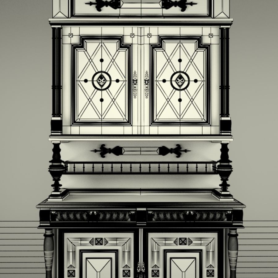 Klassischer antiker Möbelschrank-Marmeladenschrank royalty-free 3d model - Preview no. 8