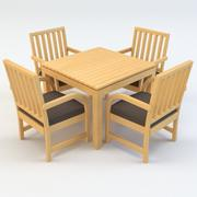 HOUTEN PATIOTAFEL EN STOELEN SET 3d model