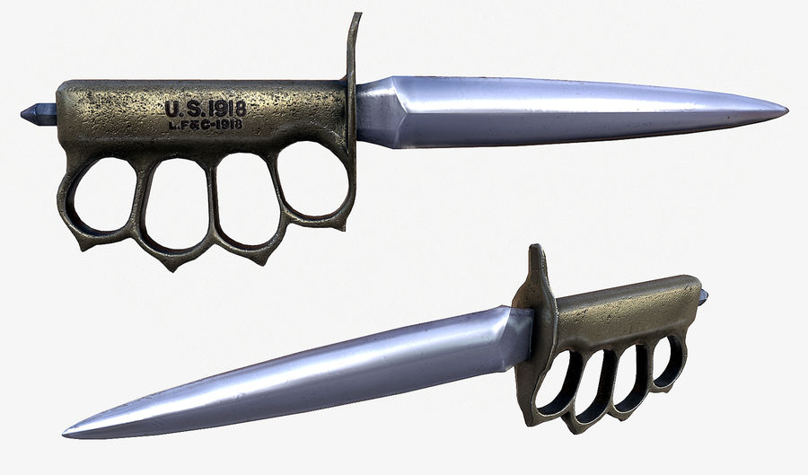 US 1918 Mark 1 Brass Knuckle Knife royalty-free 3d model - Preview no. 2