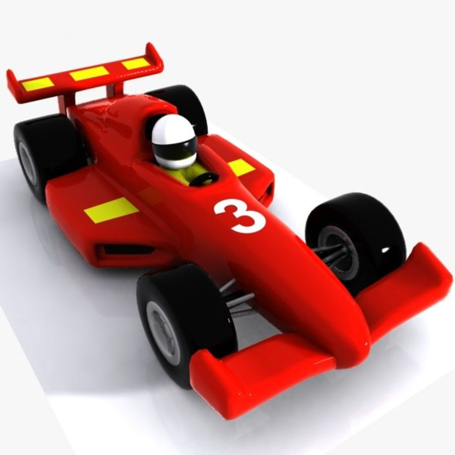 Cartoon Racing Car 1 royalty-free 3d model - Preview no. 3