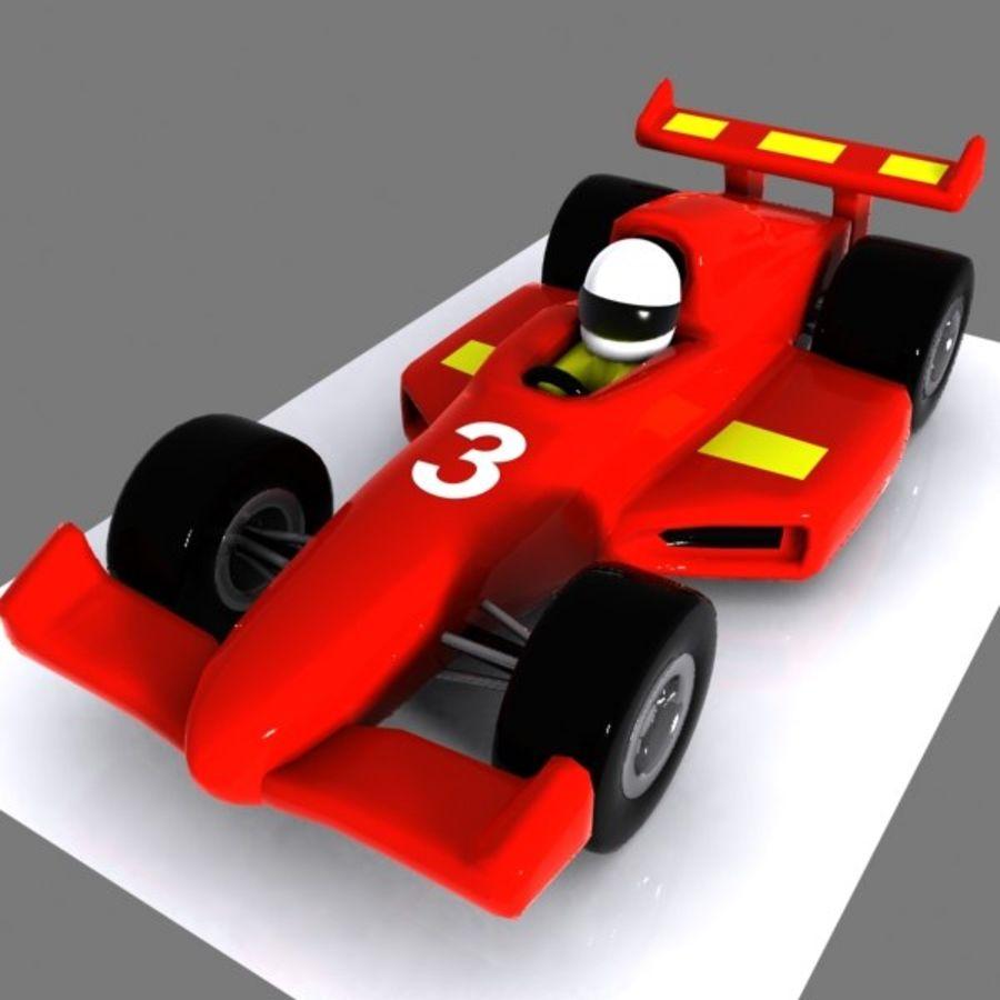 Cartoon Racing Car 1 royalty-free 3d model - Preview no. 2