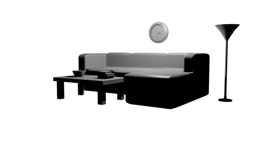 Simple Living Room royalty-free 3d model - Preview no. 2