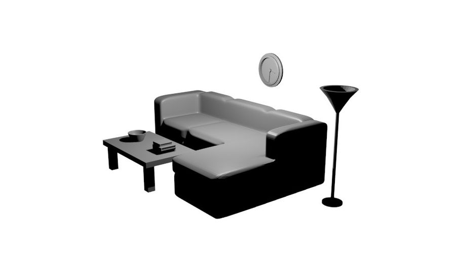 Simple Living Room royalty-free 3d model - Preview no. 3