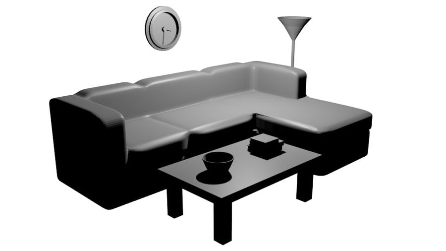 Simple Living Room royalty-free 3d model - Preview no. 5