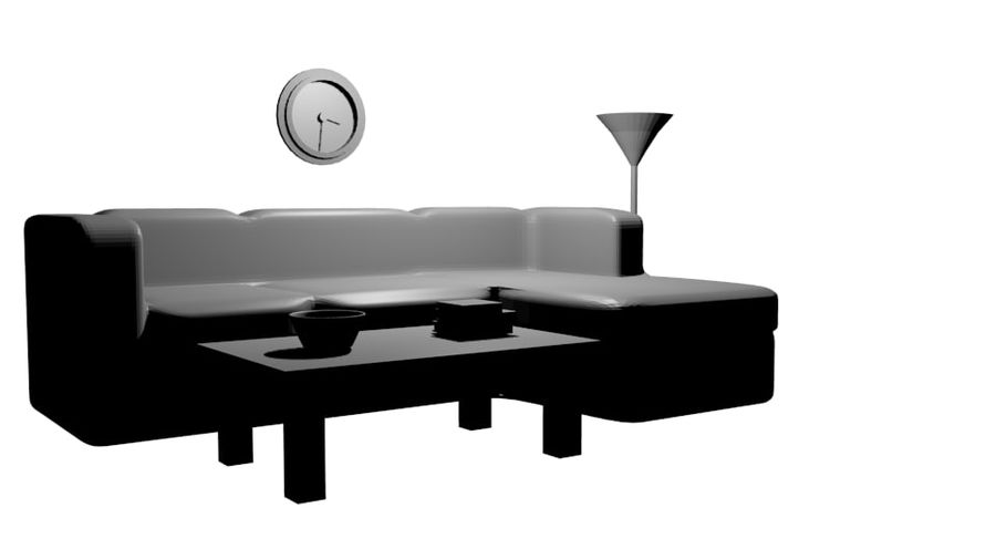 Simple Living Room royalty-free 3d model - Preview no. 1