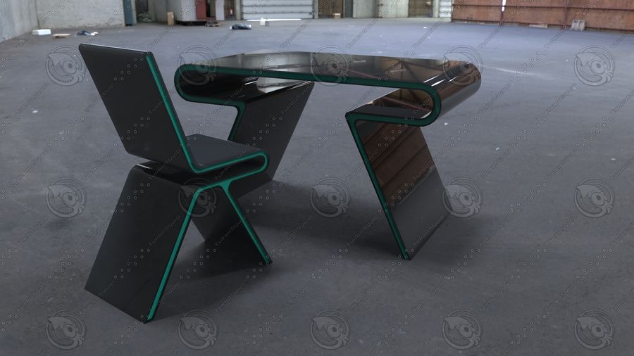 Biurko i krzesło royalty-free 3d model - Preview no. 1