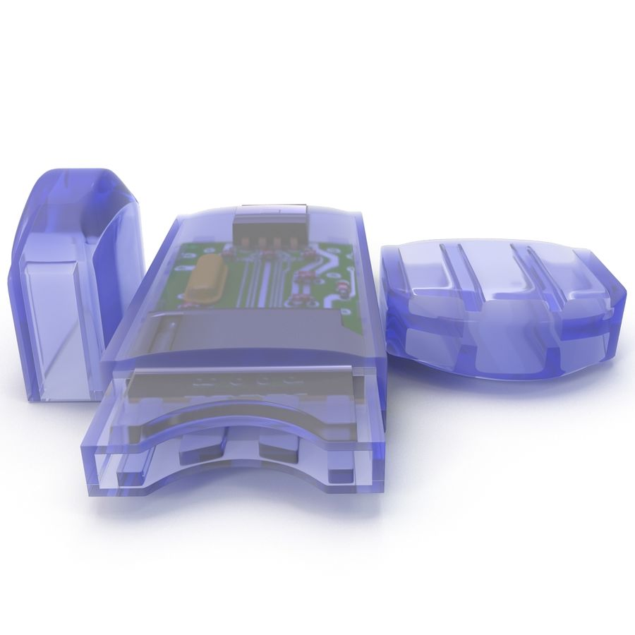 USB Memory card Reader royalty-free 3d model - Preview no. 10