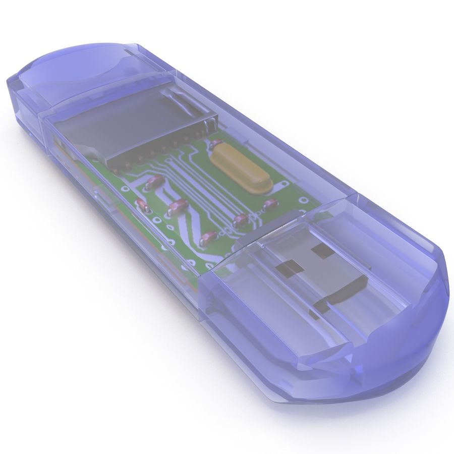 USB Memory card Reader royalty-free 3d model - Preview no. 19