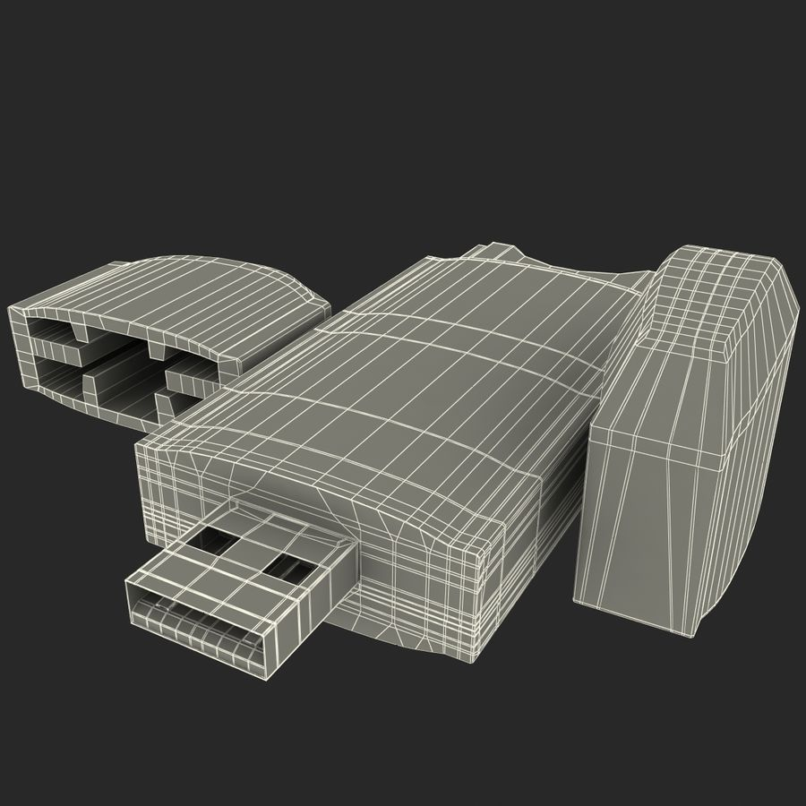 USB-minneskortläsare royalty-free 3d model - Preview no. 34