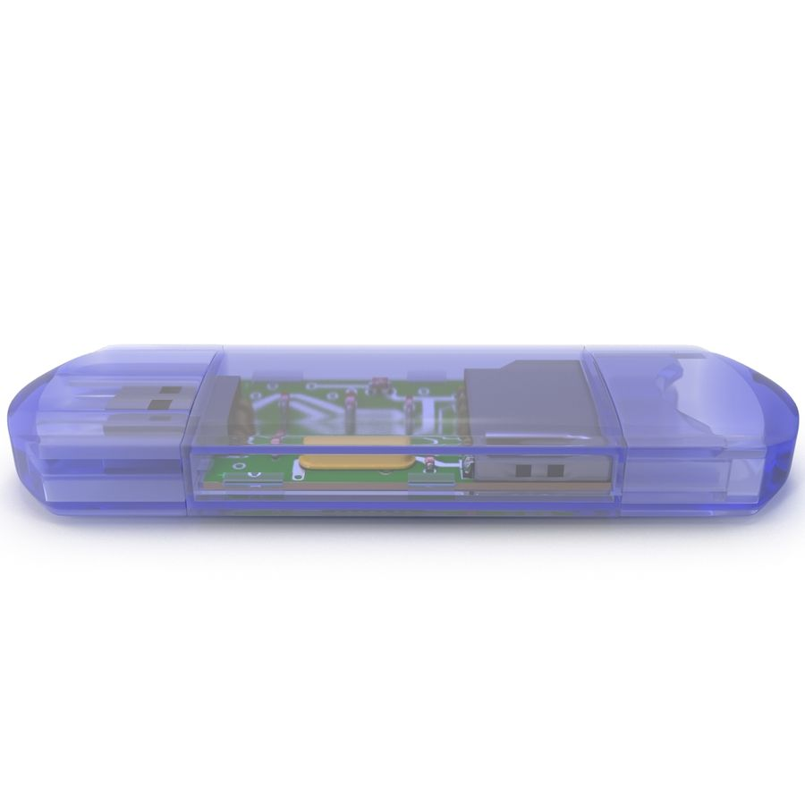 USB Memory card Reader royalty-free 3d model - Preview no. 4