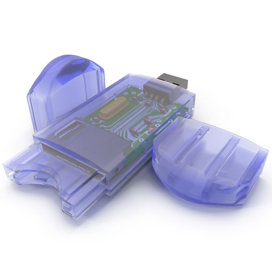 USB Memory card Reader royalty-free 3d model - Preview no. 11