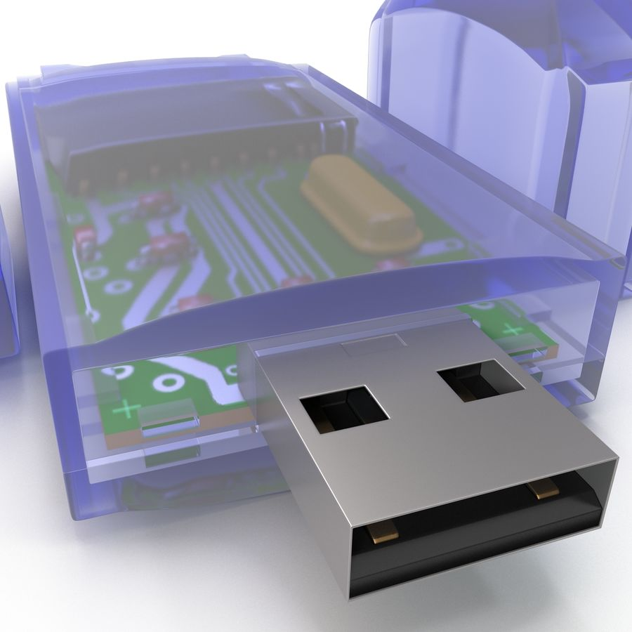 USB Memory card Reader royalty-free 3d model - Preview no. 16