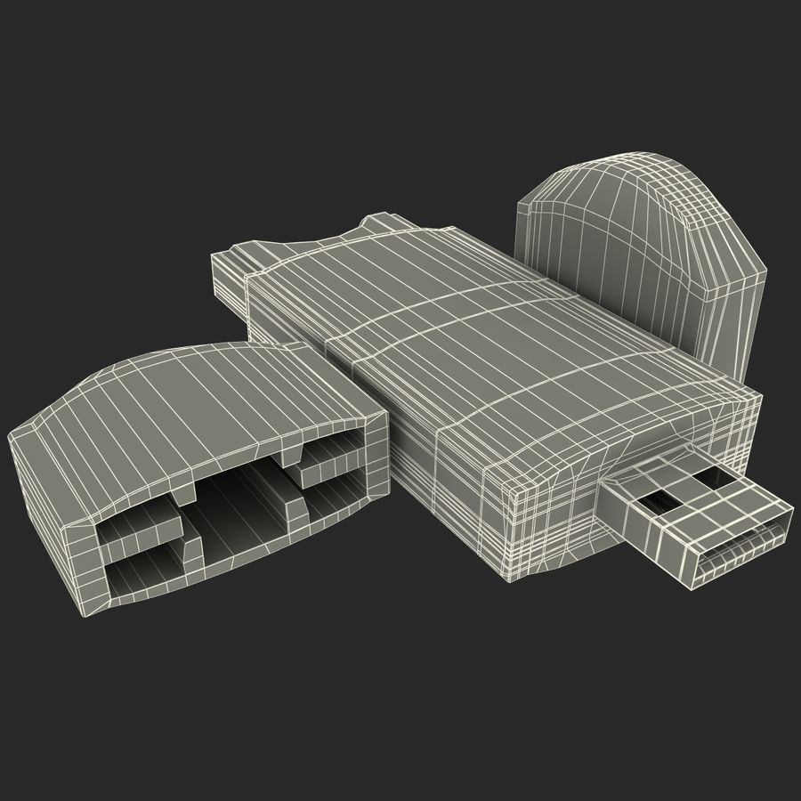USB存储卡读卡器 royalty-free 3d model - Preview no. 33