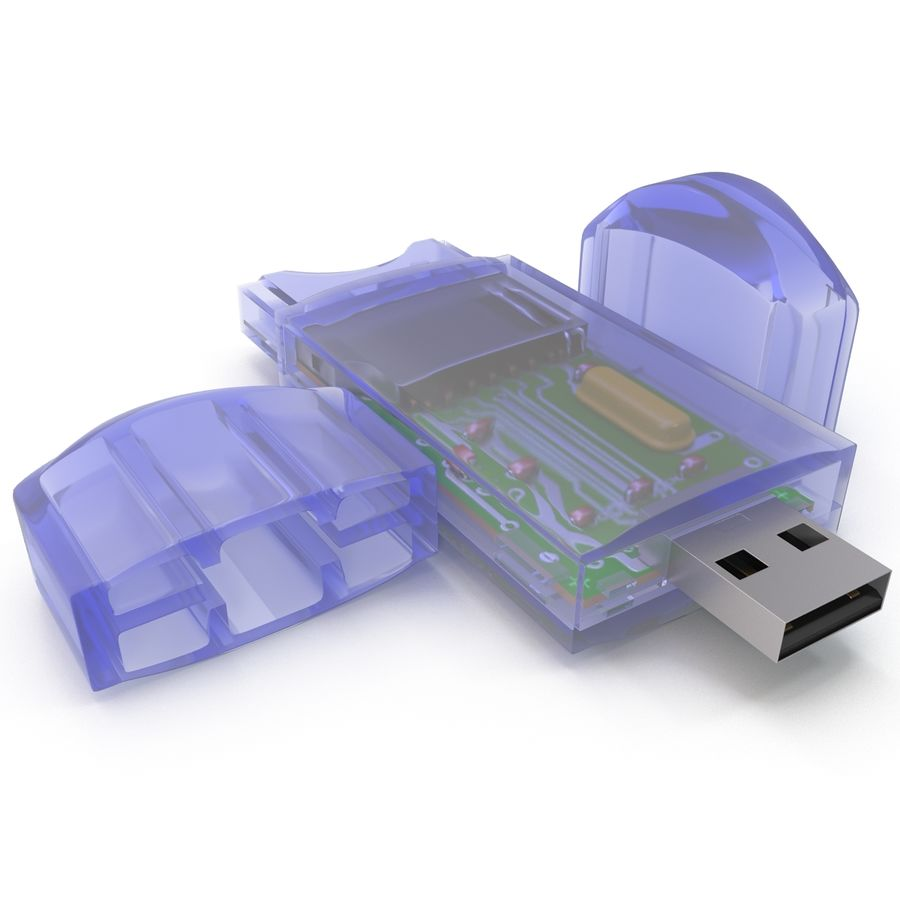 USB Memory card Reader royalty-free 3d model - Preview no. 14