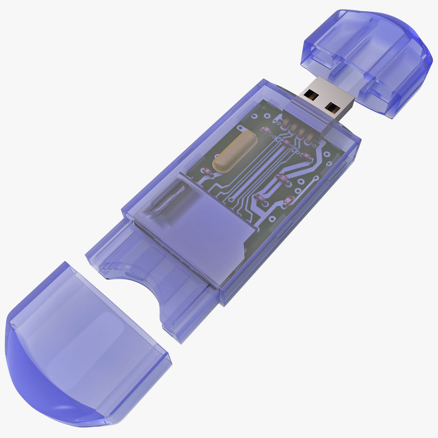 USB Memory card Reader royalty-free 3d model - Preview no. 1