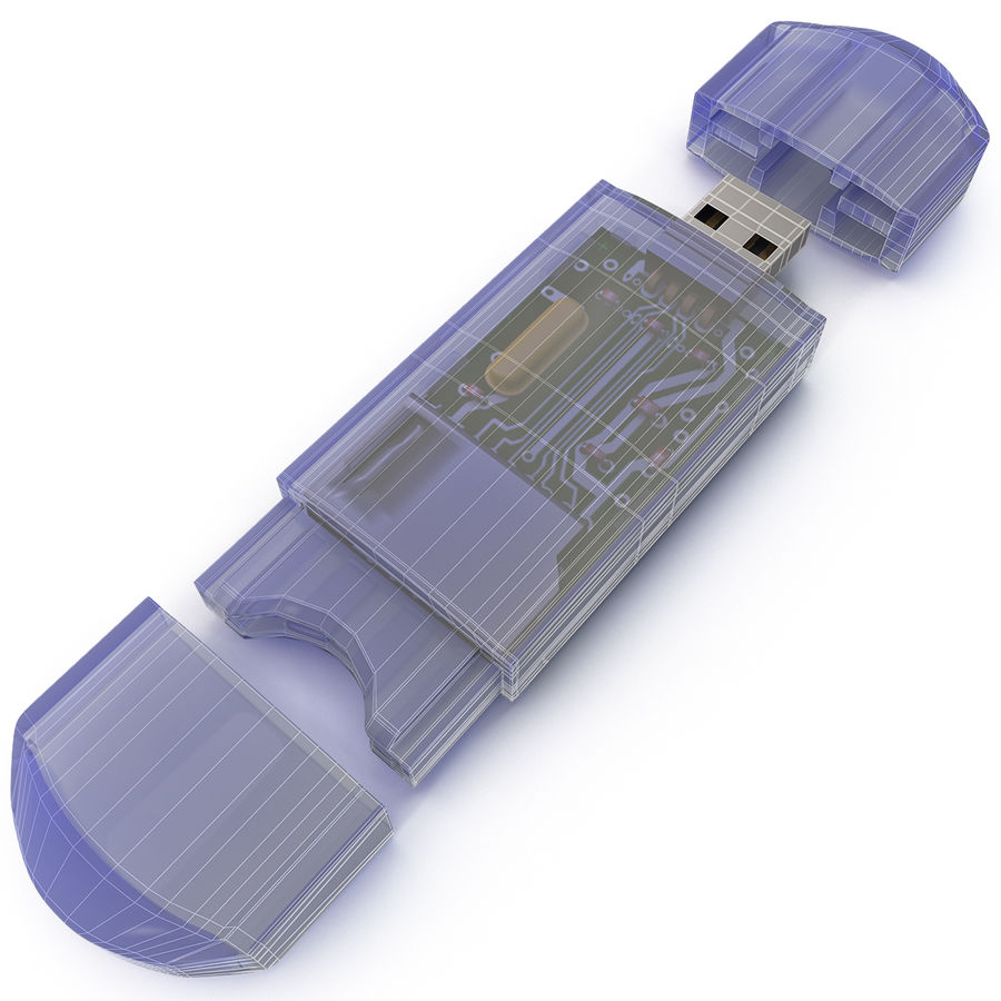 USB Memory card Reader royalty-free 3d model - Preview no. 24