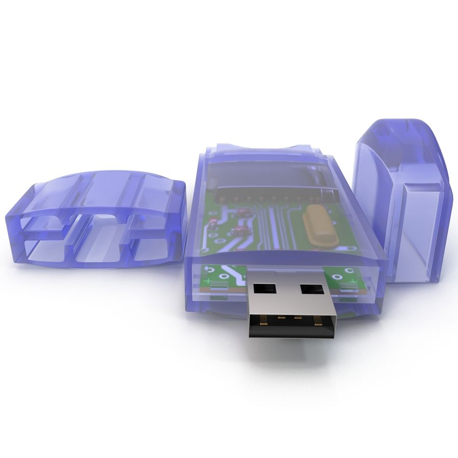 USB Memory card Reader royalty-free 3d model - Preview no. 9