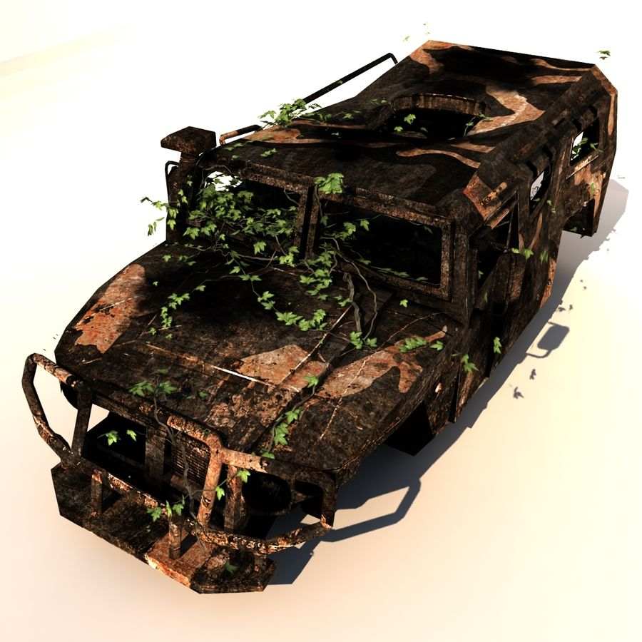 Wrecked Vehicle royalty-free 3d model - Preview no. 3