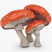 Mushrooms Amanita 3d model