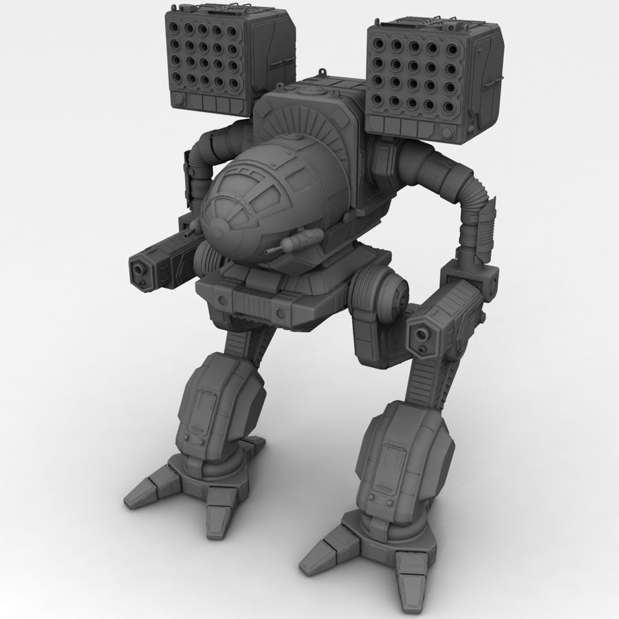 Mech Warrior Robot royalty-free 3d model - Preview no. 20