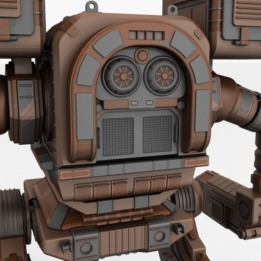 Mech Warrior Robot royalty-free 3d model - Preview no. 18