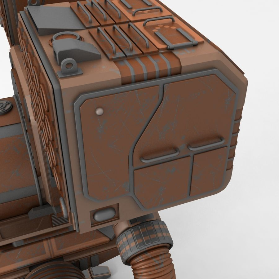 Mech Warrior Robot royalty-free 3d model - Preview no. 6