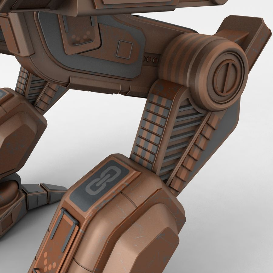 Mech Warrior Robot royalty-free 3d model - Preview no. 10