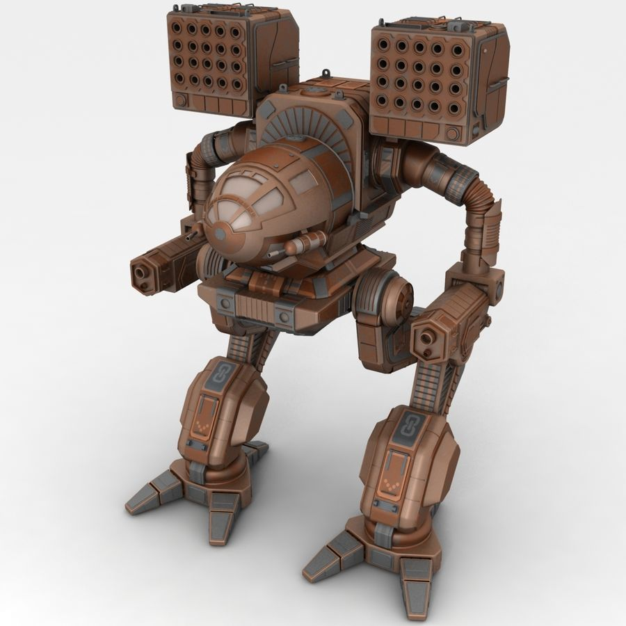 Mech Warrior Robot royalty-free 3d model - Preview no. 1