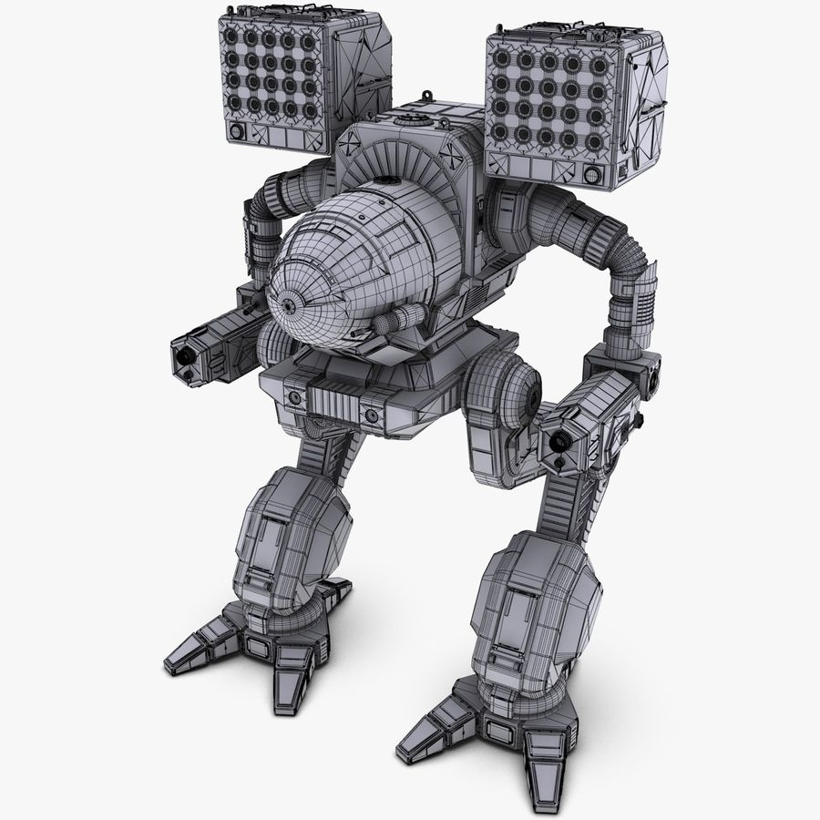 Mech Warrior Robot royalty-free 3d model - Preview no. 39
