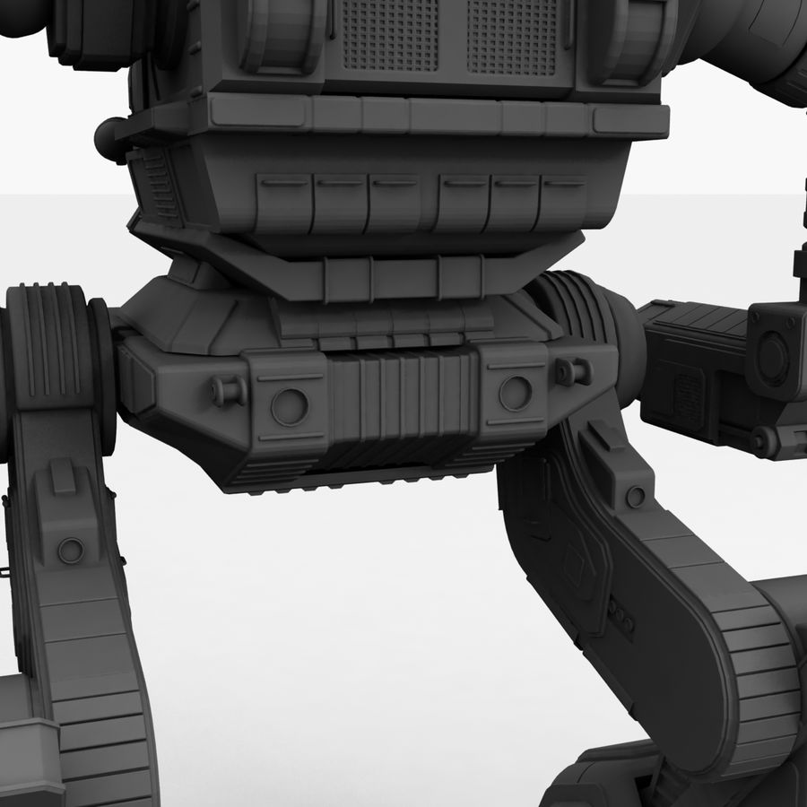 Mech Warrior Robot royalty-free 3d model - Preview no. 36