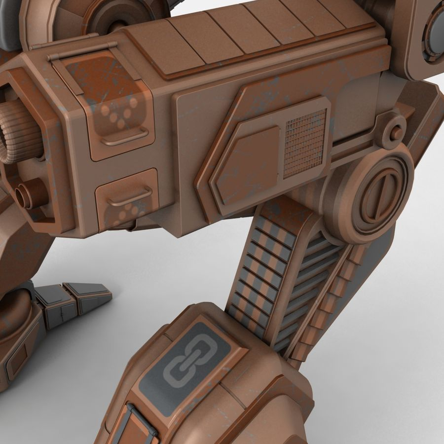 Mech Warrior Robot royalty-free 3d model - Preview no. 9