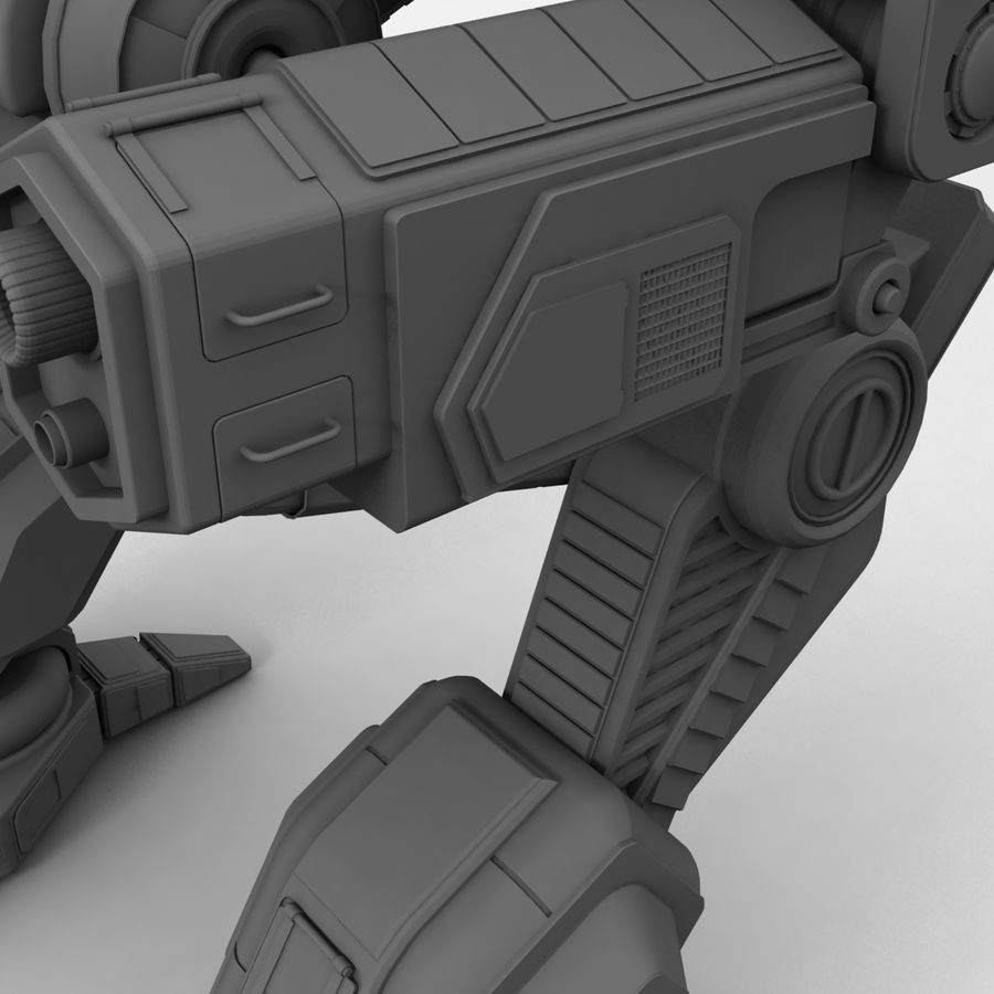Mech Warrior Robot royalty-free 3d model - Preview no. 28