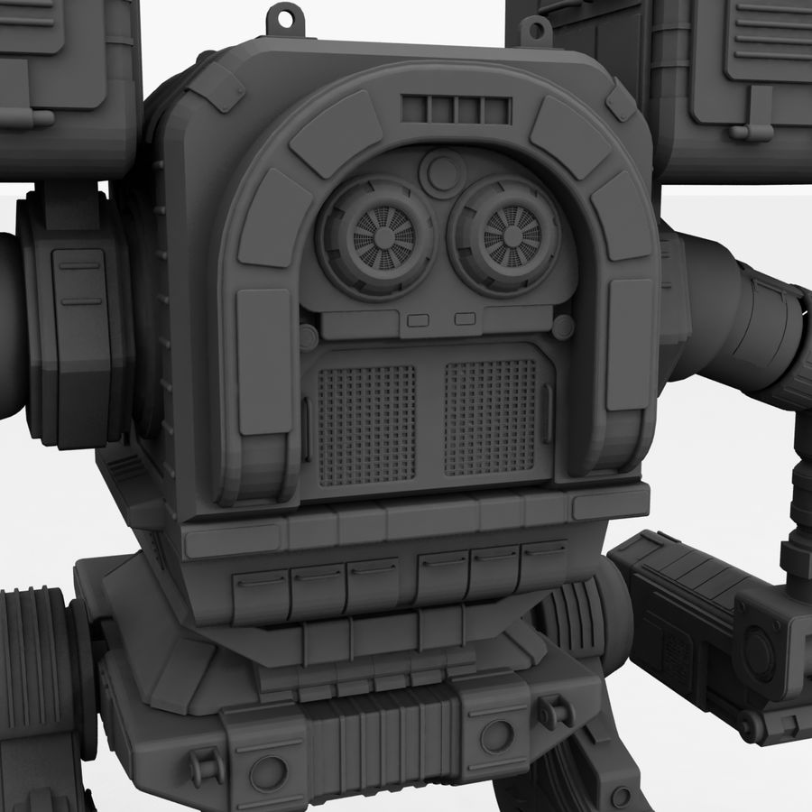 Mech Warrior Robot royalty-free 3d model - Preview no. 37