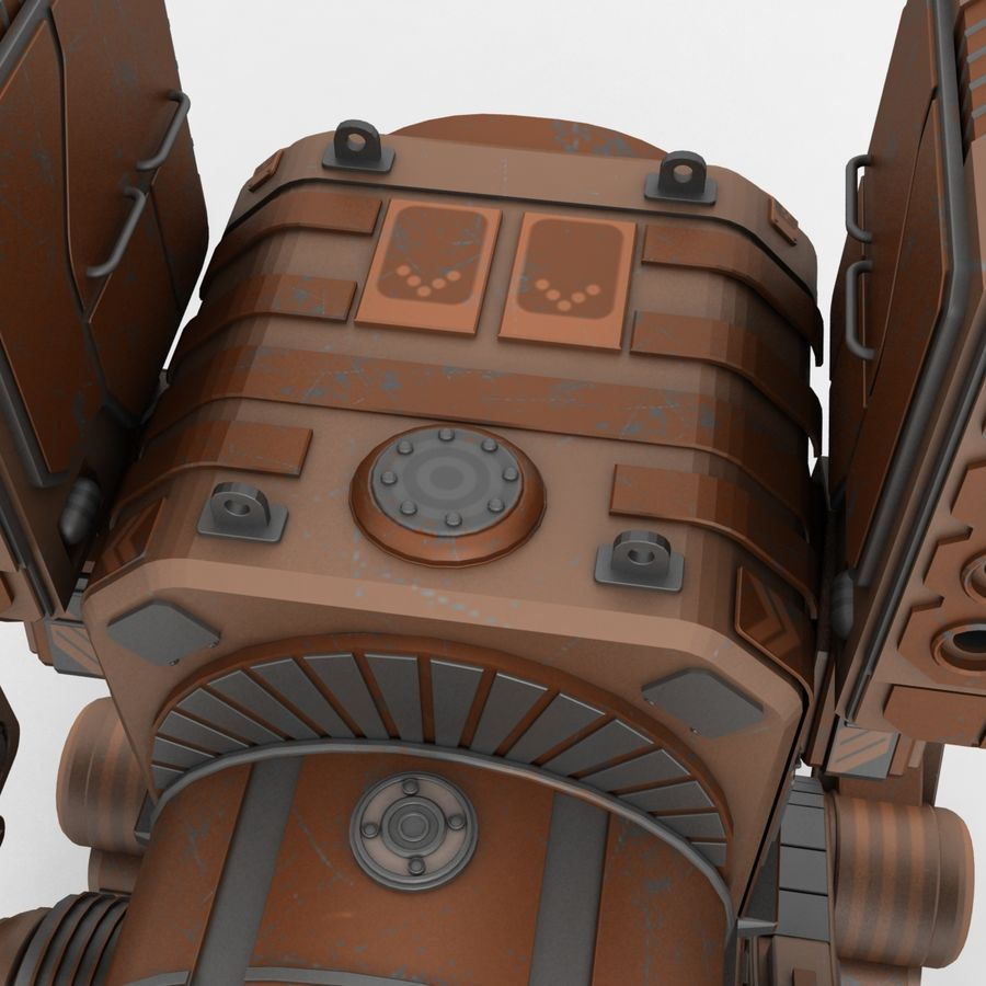 Mech Warrior Robot royalty-free 3d model - Preview no. 3
