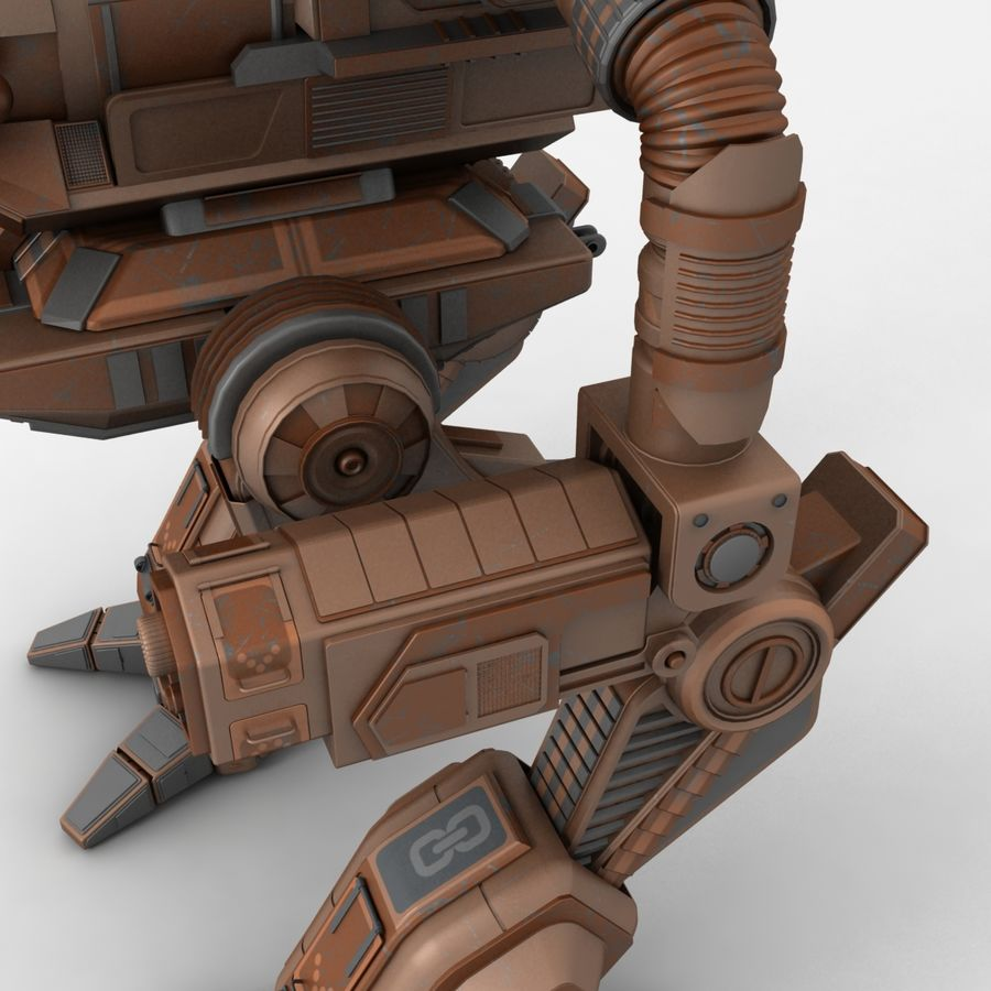 Mech Warrior Robot royalty-free 3d model - Preview no. 7