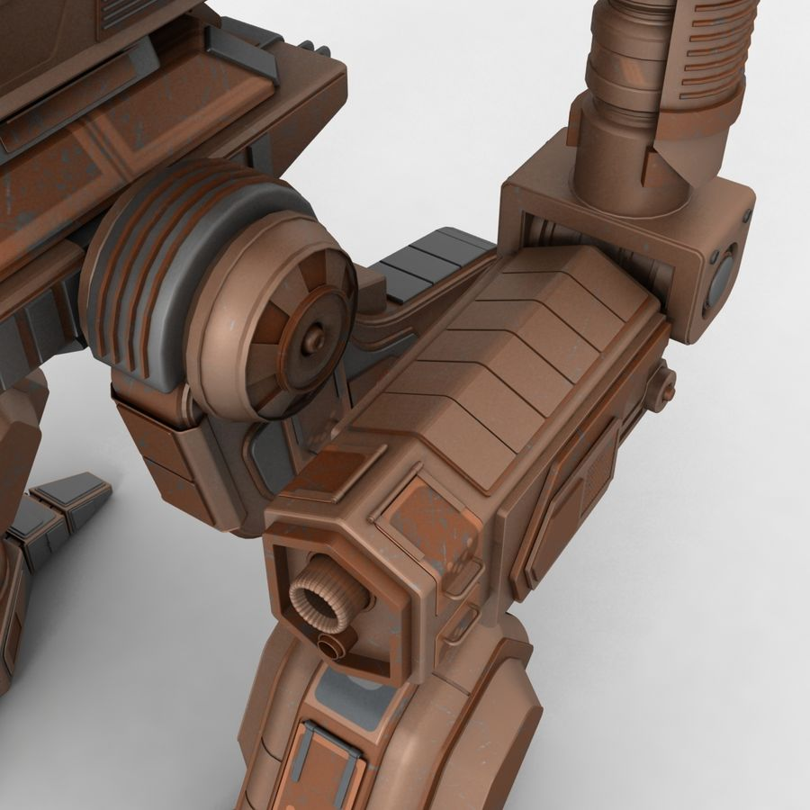 Mech Warrior Robot royalty-free 3d model - Preview no. 8
