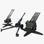 Kolekcja Low Poly Cannons II wojny światowej 3d model