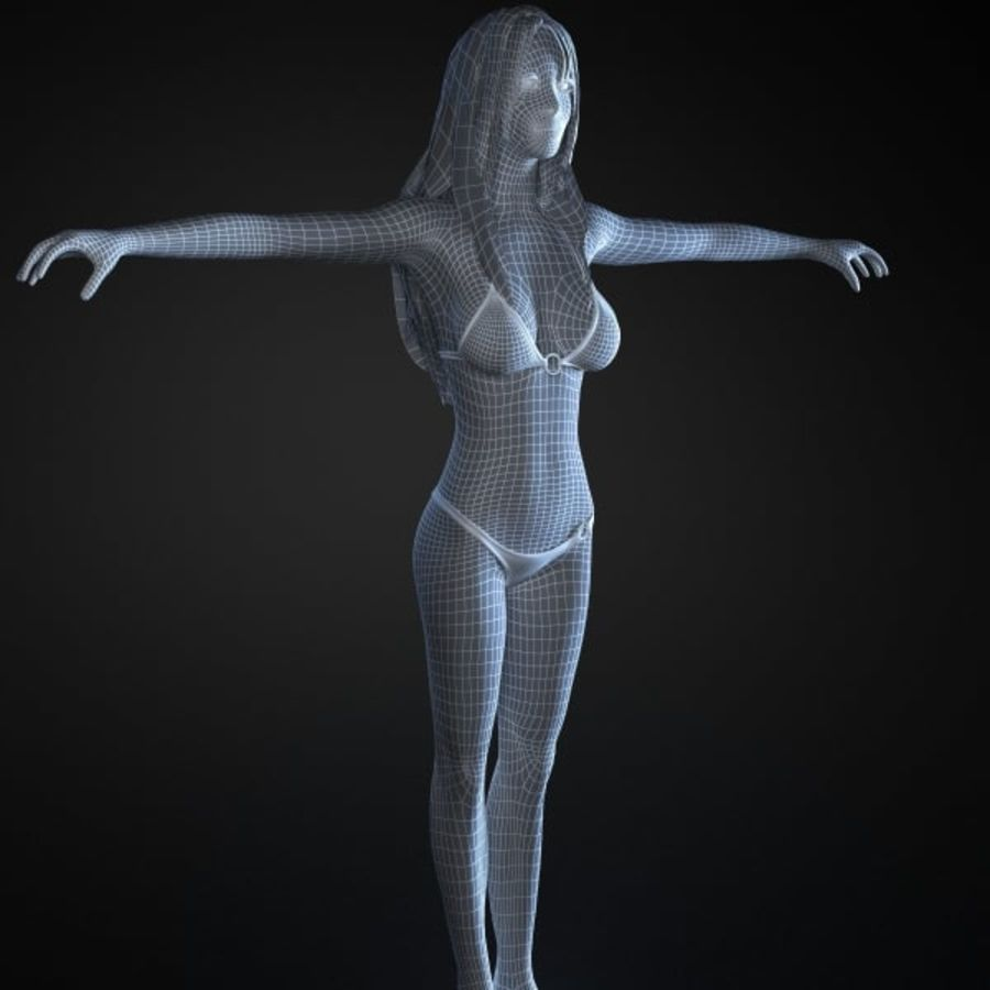 Girl 1 royalty-free 3d model - Preview no. 7