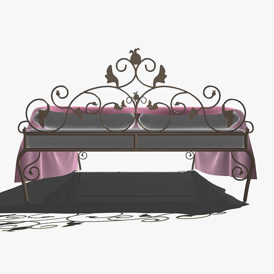 Forged Bed 1v royalty-free 3d model - Preview no. 4