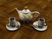 Чайник и чашки 3d model