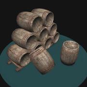 Drewniana beczka - gra gotowa 3d model