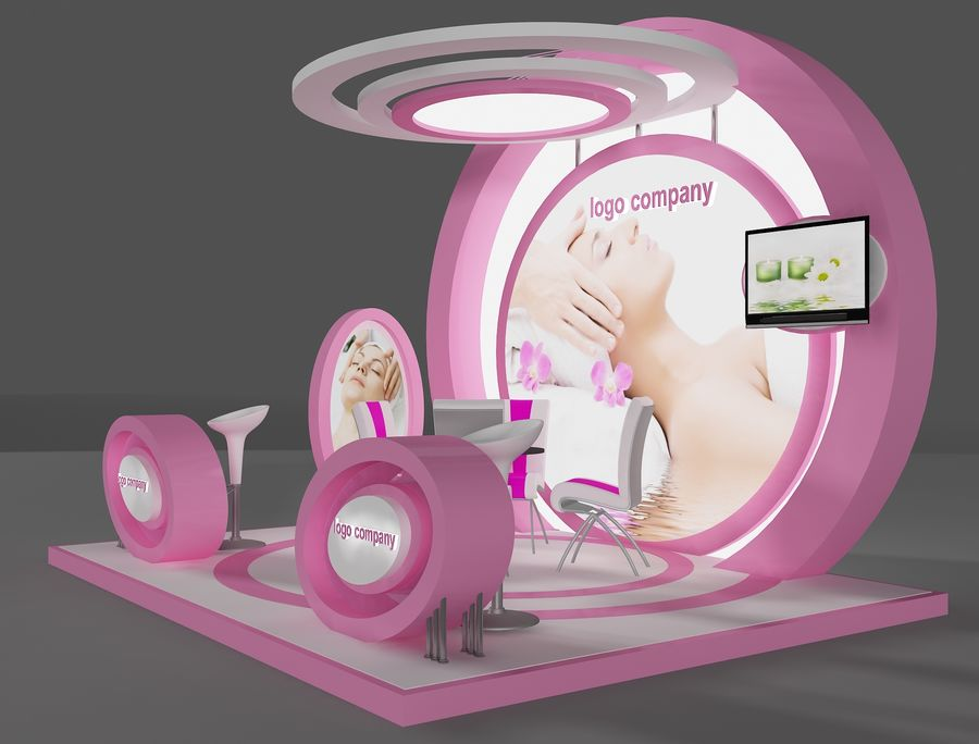 Booth Exhibition Stand(2) royalty-free 3d model - Preview no. 3