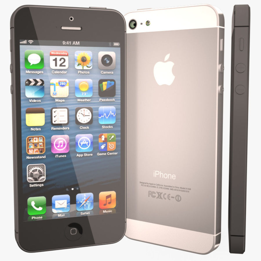 Smartfon Apple iPhone 5 royalty-free 3d model - Preview no. 1