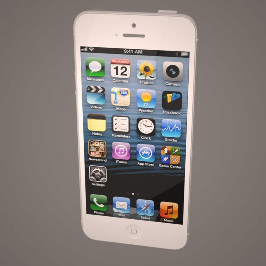 Smartfon Apple iPhone 5 royalty-free 3d model - Preview no. 13