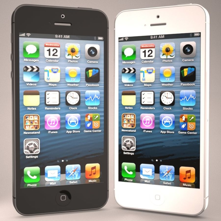 Smartfon Apple iPhone 5 royalty-free 3d model - Preview no. 3