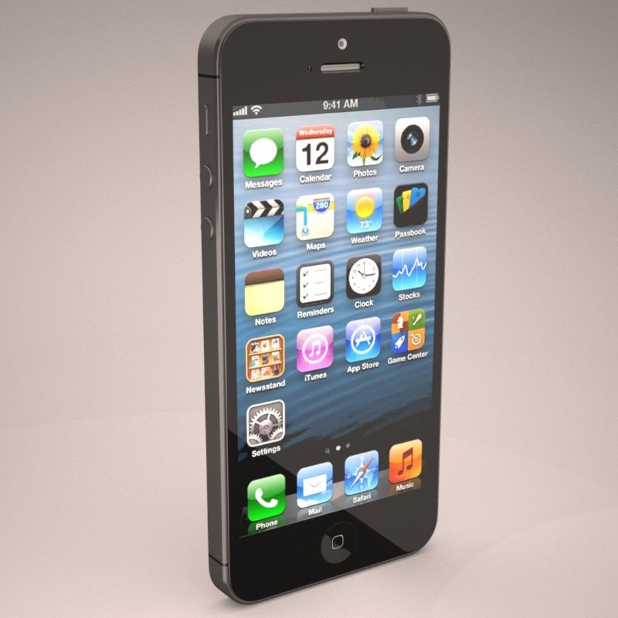 Smartfon Apple iPhone 5 royalty-free 3d model - Preview no. 7