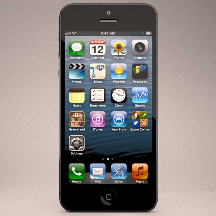 Smartfon Apple iPhone 5 royalty-free 3d model - Preview no. 4