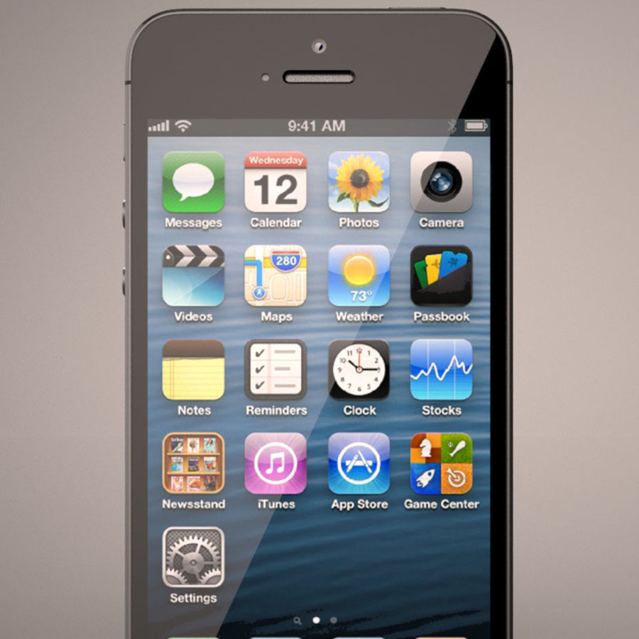 Smartfon Apple iPhone 5 royalty-free 3d model - Preview no. 5