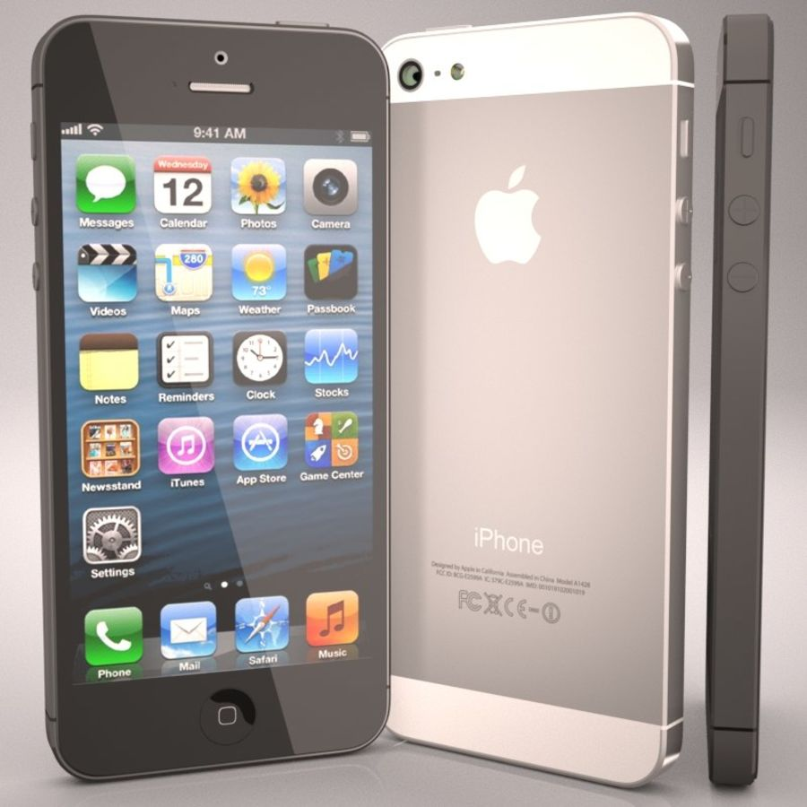 Smartfon Apple iPhone 5 royalty-free 3d model - Preview no. 2