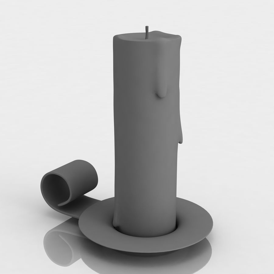 Candlestick with candle royalty-free 3d model - Preview no. 7